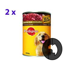 2 pcs pedigree 400 gr adult 5 kinds of meat (can)
