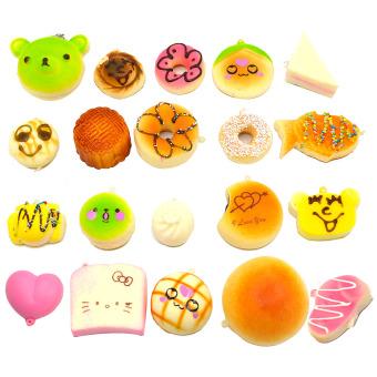 20 Pcs Kawaii Mini Squishy Soft Simulated Food Panda Bread CakeBuns Pendants Key Rings Keychains Phone