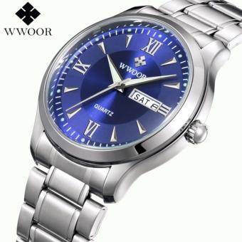 2017 Men Watch Luxury Brand WWOOR Quartz Watches Luminous Hour Day Date Clock Male Stainless Steel Clock Casual Sport Wristwatch - intl