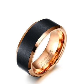 2017 New Tungsten Carbide Ring Classic 8mm Men Wedding JewelryRose-Gold color - intl