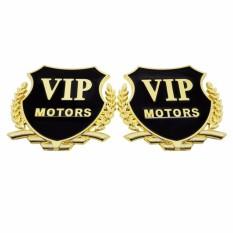 2PCS 3D Gold VIP Motors Logo Auto Car Side Metal Badge Emblem Decal Sticker Fit for