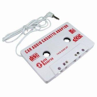 Gambar 3.5 mm stereo kaset mobil adaptor untuk iPhone untuk iPod MP3 CDpemain putih gratis pengiriman