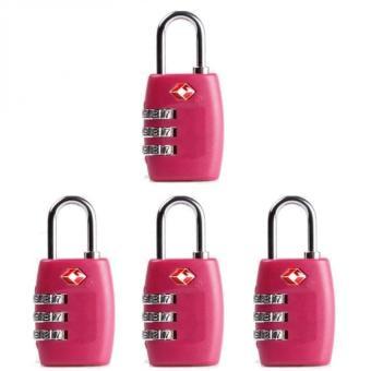 4 Pcs 3-Digit TSA Lock Resettable Kombinasi Kunci Gembok Koper Bagasi Perjalanan (Pink