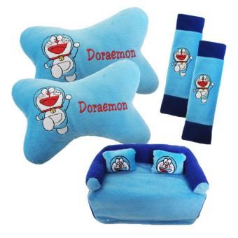 5in1 Car Set Bantal Mobil Doraemon Cover Sarung Seat Safety BeltBantal Kepala Leher Tempat Tissue