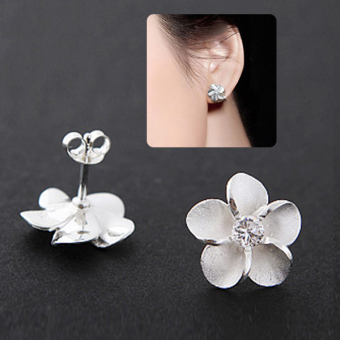 925 perak 925 prem bunga kristal giwang memasang anting-anting hadiah perhiasan wanita - 5