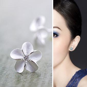 925 perak 925 prem bunga kristal giwang memasang anting-anting hadiah perhiasan wanita - 3