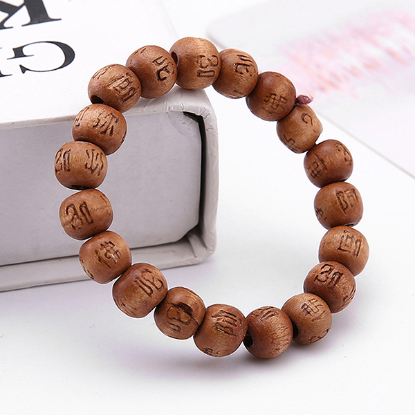 Adapula 10 mm gelang manik-manik kayu doa Budha gelang elastiscoklat -