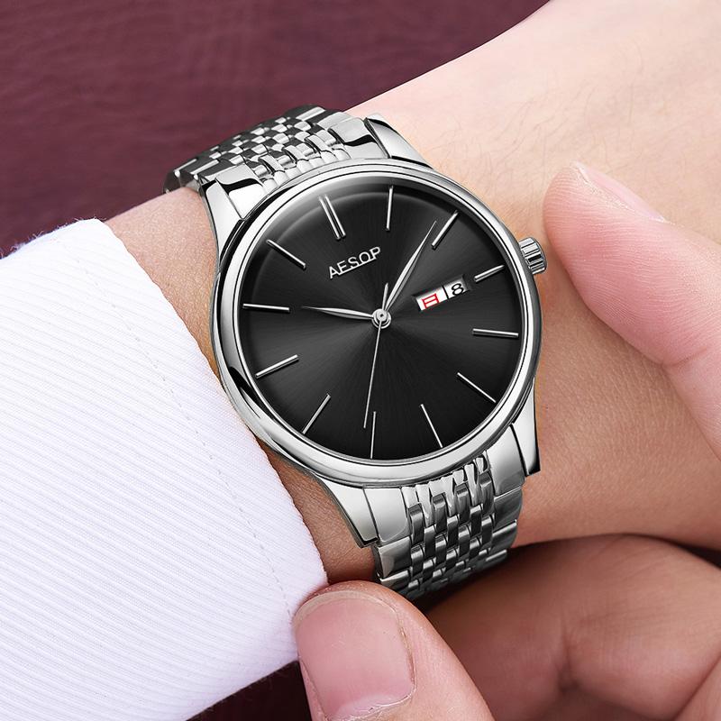 Aesop Sederhana Sepenuhnya Otomatis Bagian Tipis Jam Tangan Pria Produk  Asli Jam Tangan 8a83af7405