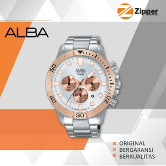 Alba Active Chronograph Jam Tangan Pria - Tali Stainless Steel - AT3A08X1