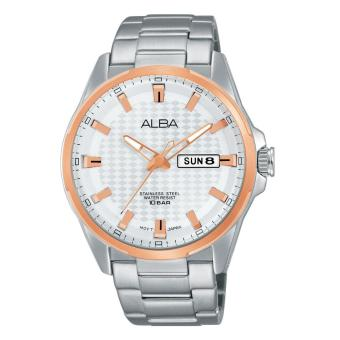 Alba Analog Jam Tangan Pria - Strap Stainless Steel - Silver Gold - AT2052 - 4