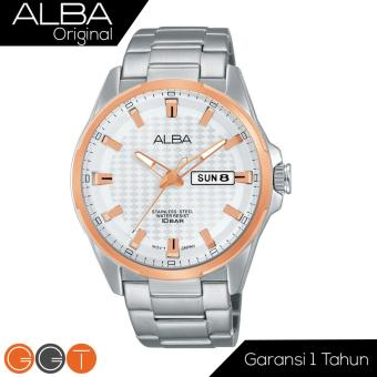 Alba Analog Jam Tangan Pria - Strap Stainless Steel - Silver Gold - AT2052