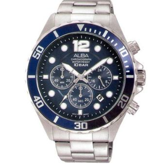 ALBA Chronograph - Jam Tangan Pria - Silver - Stainless Steel - AT3911