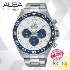 Alba Chronograph - Jam Tangan Pria - Tali Stainless Steel - Silver -