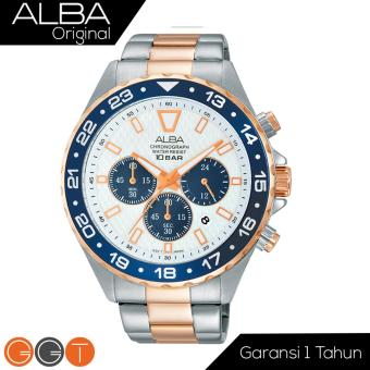 Alba Chronograph Jam Tangan - Strap Stainless Steel - AT3906X1 - Gold Blue