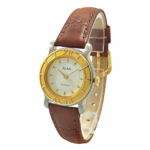 ALBA Jam Tangan Wanita - Brown Silver Gold - Leather Strap ATCS28 .