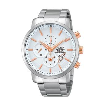 Alba Signa Chronograph Jam Tangan - Stap Stainless Steel - Silver - AF8S31X1