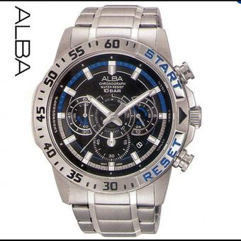 Alba Sport Chronograph - Jam Tangan Pria - Silver - Stainless Steel - AT3895