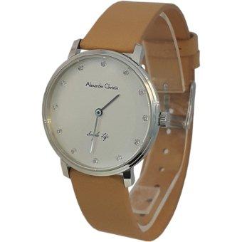 Alexandre Christie 1430896 Analog Model Couple Permata Tali Kulit Jam Tangan Wanita - Silver Kombinasi Krem