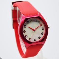 Alexandre Christie 2702L Jam Tangan Wanita Tali Rubber Merah