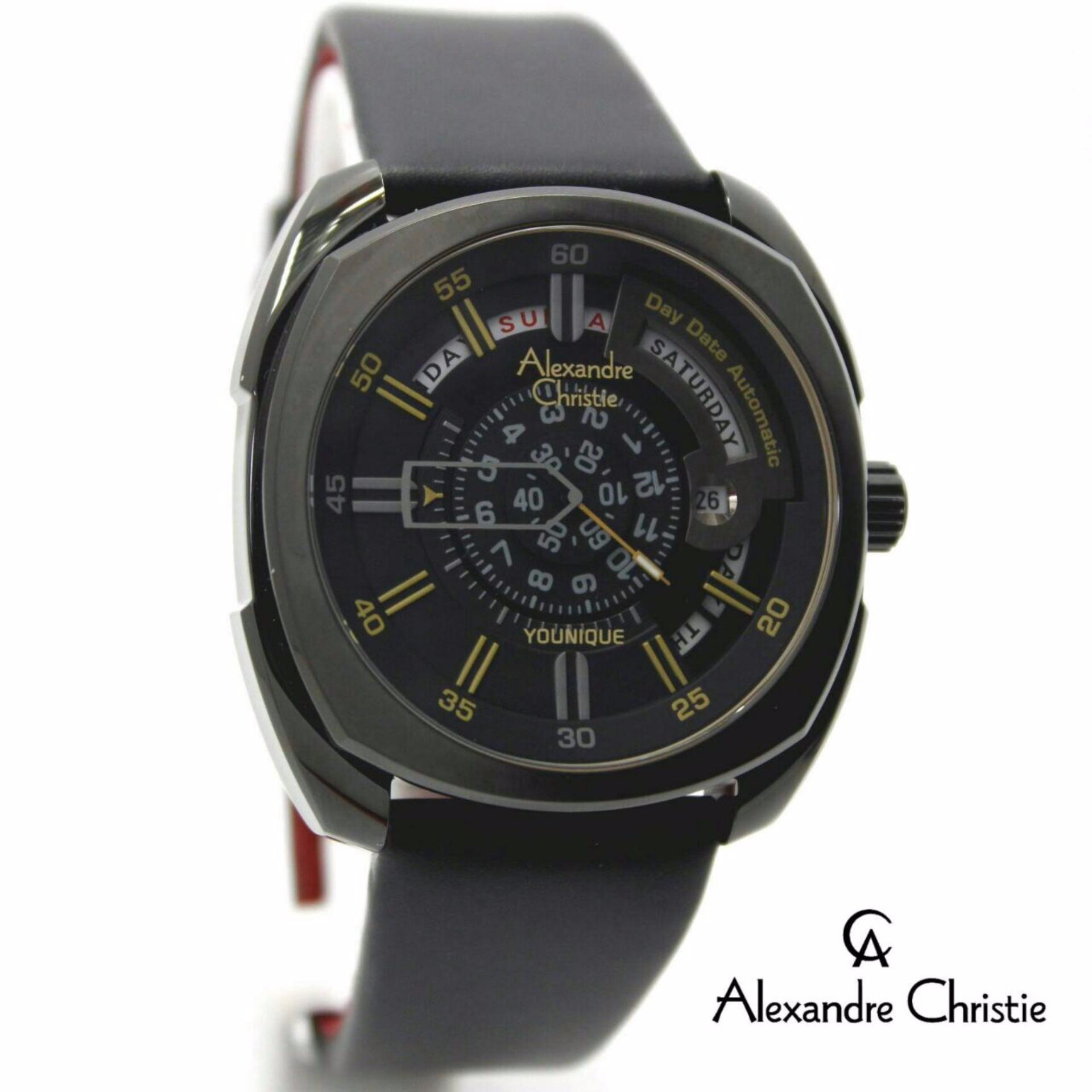 Review of Alexandre Christie AC3034M Automatic Jam Tangan Pria Strap Leather Hitam belanja murah - Hanya