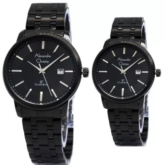 Alexandre Christie Couple Watch Jam Tangan Couple - Full Black - Strap Stainless Steel - AC 8476CFB