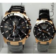 Alexandre Christie Jam Tangan Couple Alexandre Christie AC6455MC/BF Black Rosegold Stainless Steel