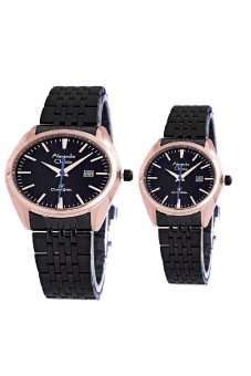 Alexandre Christie -Jam Tangan Couple - Black Rosegold -Stainless Steel - AC 8403CPRG