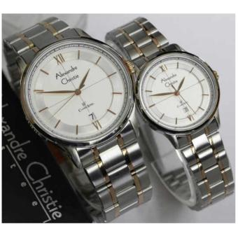 Alexandre Christie- Jam Tangan Couple-Stainless Steel-Silver Gold-AC8505CSGD