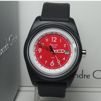 Alexandre Christie Jam Tangan Pria Alexandre Christie AC6431MD Depth Black Dial Red Rubber Strap