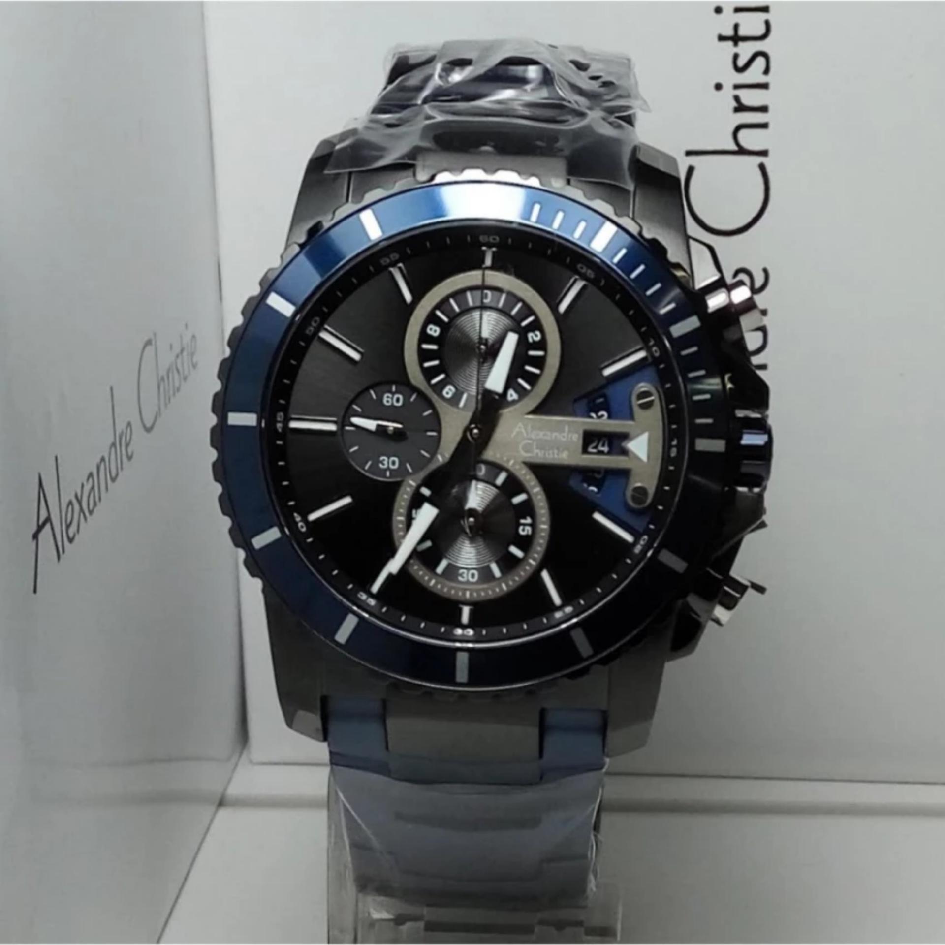 Alexandre Christie Jam Tangan Pria Alexandre Christie AC6455MCChronograph Blue Stainless Steel