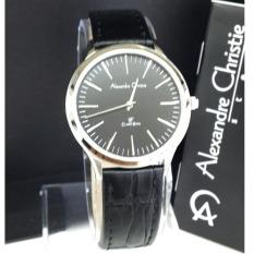 Alexandre Chritie - Jam Tangan Wanita - Leather Strap - AC 8491 Silver Black