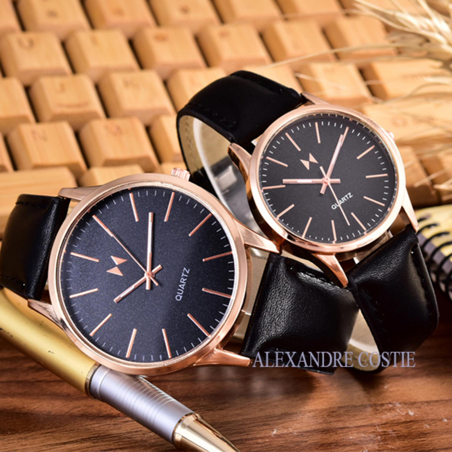 ... BLACK LEATHER STRAP Couple Terbaru ... Source · Alexandre Costie - Bonico - Jam Tangan Pria dan Wanita - Body Rose .