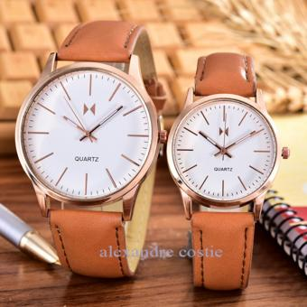 Alexandre Costie - Bonico - Jam Tangan Pria dan Wanita - Body Rose Gold - White - Dial - Brown Leather Strap - Bonico-2984D-GL-RGW-Couple - Brown Leather Strap
