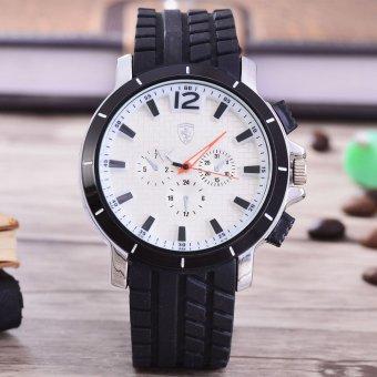 Alexandre Costie Jam Tangan Pria - Body Black –White Dial – Black Rubber Strap - AC-RK-9911-BW