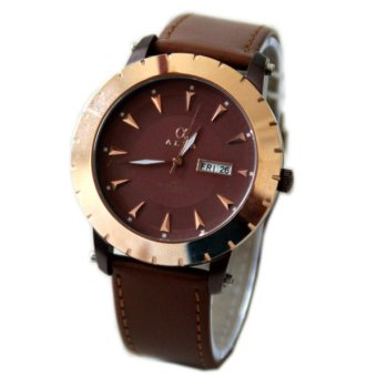 Alfa 3833M Jam Tangan Pria - Cokelat - Strap Leather