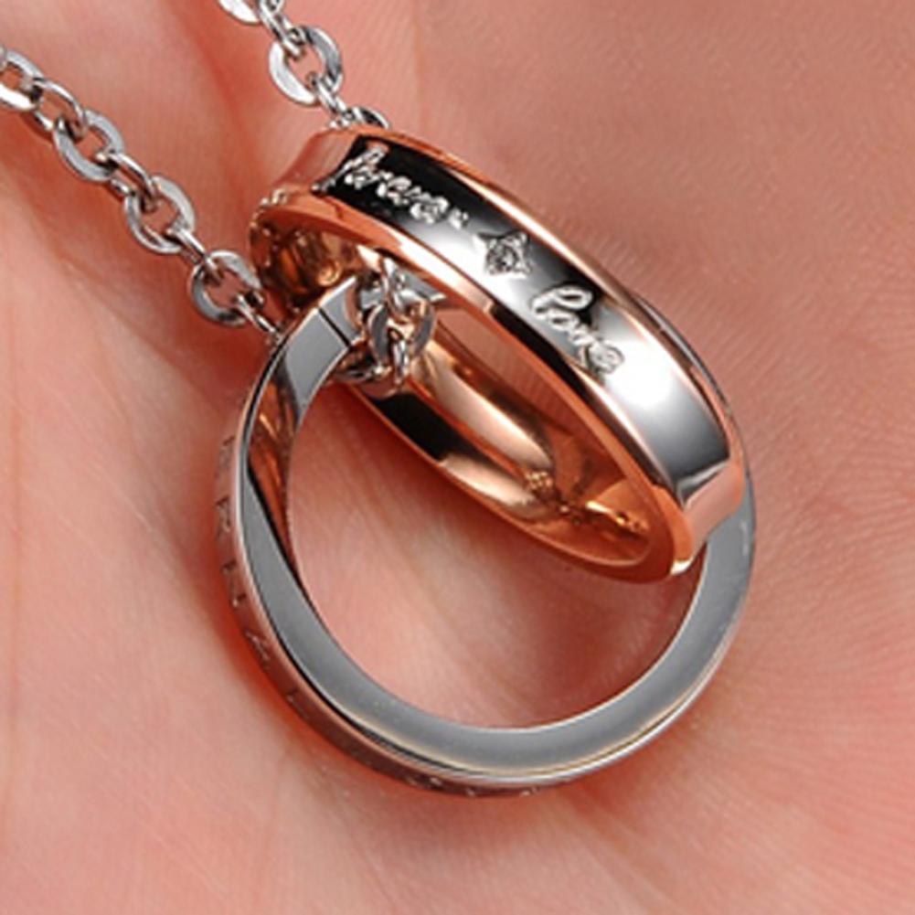 Amart kalung baja dengan baja Titanium murni dua rantai liontin berlian imitasi (mawar Emas) - International