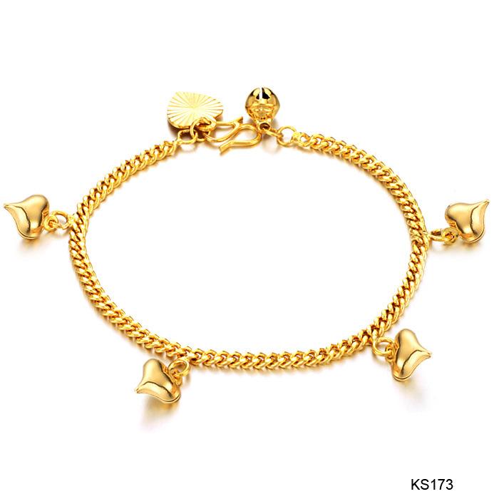 Amart perhiasan aksesoris wanita cewek lucu lonceng hati 18 Karat Gold Charm gelang - Internasional