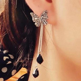 Amefurashi Anting Korea Butterfly Long Tassel Dangles Rhinestone Stud Earring