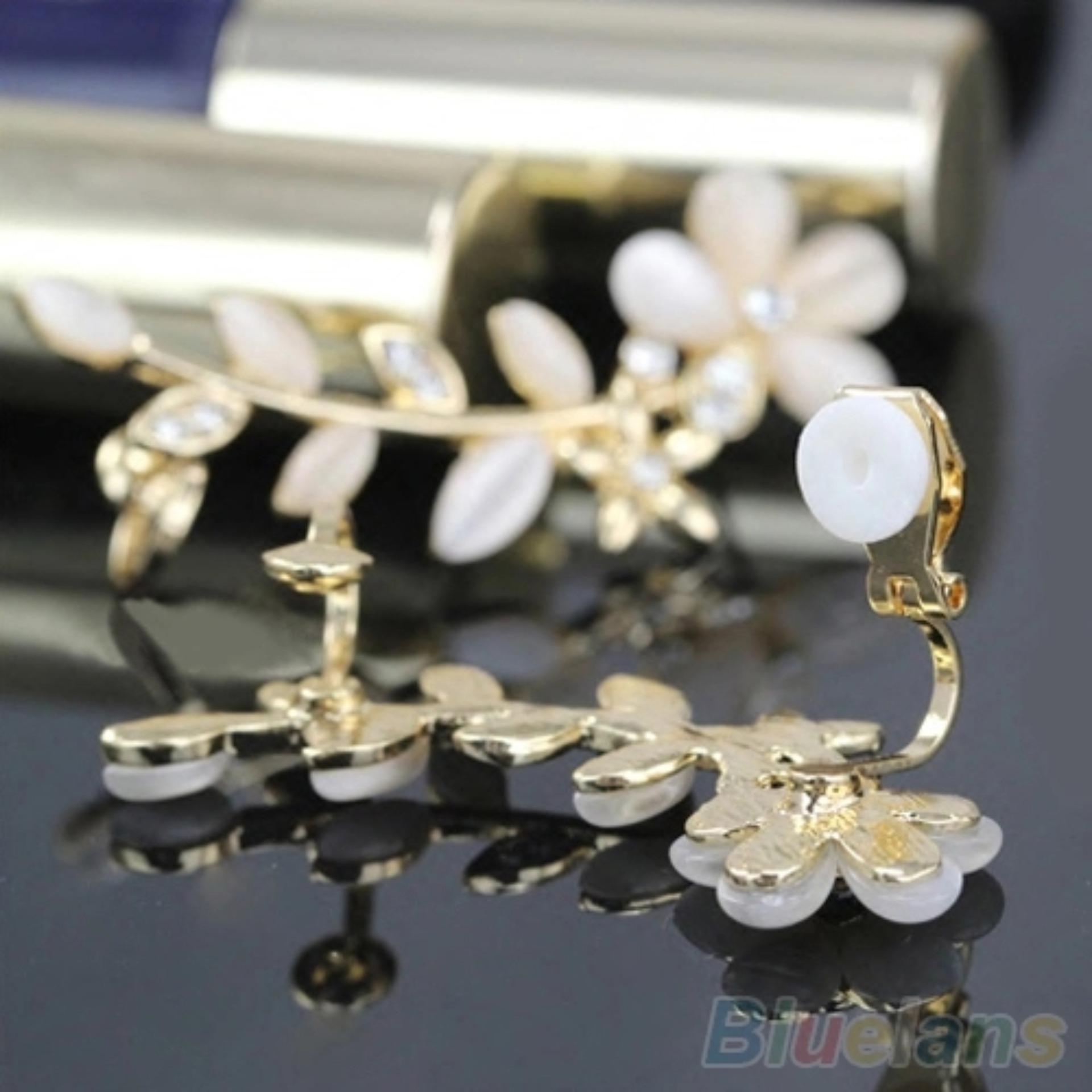 ... Amefurashi Anting Korea Crystal Opal Flower Clip Earring Beauty ...