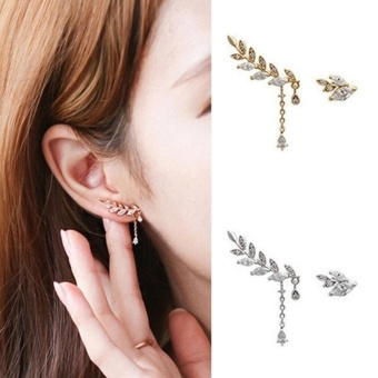 Amefurashi Anting Korea Daun Asimetris Asymmetric Leaf Clip Dangle Earring Beauty