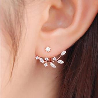 Amefurashi Anting Korea Daun Kristal Crystal Leaf Rhinestone Curved Clip Earring - 2