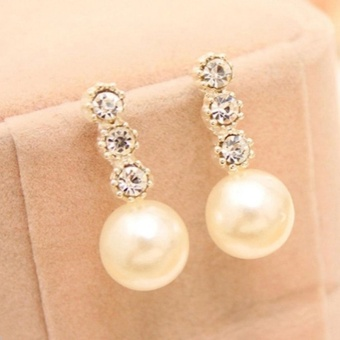 Amefurashi Anting Korea Eardrop Rhinestone Stud Earring Bride Lovely