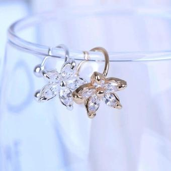 Amefurashi Anting Kristal Shiny Flower Clip Earring