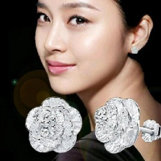 Amefurashi Anting Kristal Shiny Rose Silver Plated