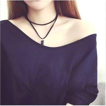 Amefurashi Kalung Cantik & Manis Choker A16 Black Leather Gem Pendant Necklace