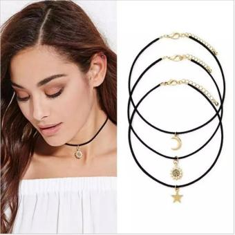 Amefurashi Kalung Choker A103 3 in 1 Choker Moon Sun and StarNecklace