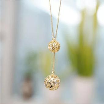 Amefurashi Kalung Korea 2 Bola Emas Hollow 2 Small Ball BeautyNecklace