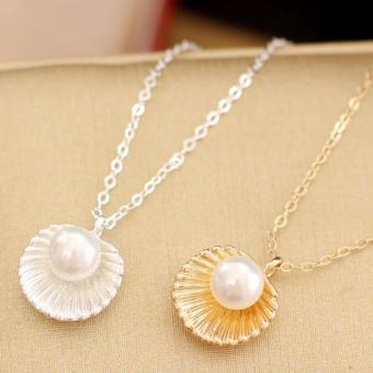 Amefurashi Kalung Korea Kerang Beauty White and Gold Sea Shells