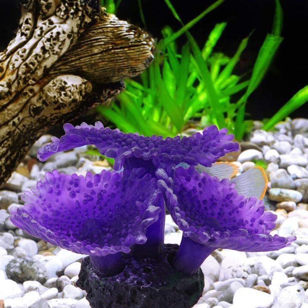 Aquarium Artificial Soft Coral Fish Tank Landscape Ocean Creature Decor(Purple) - intl