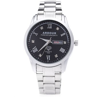 ARDOUR 1835 Male Quartz Watch Artificial Diamond Dial 3ATM Luminous Roman Numerals Display Wristwatch (BLACK)